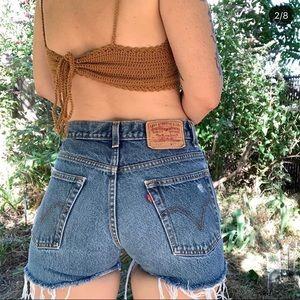 Vintage Levi's 517 high waisted cutoff jean shorts
